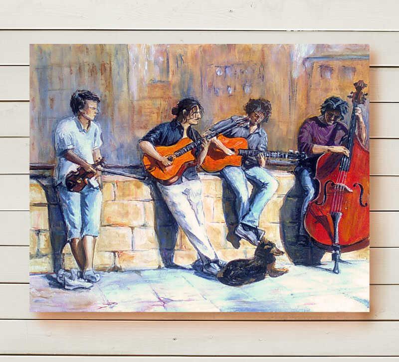 картина маслом городской пейзаж фламандские музыканты