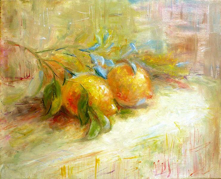 натюрморт маслом лимоны на ветке с листьями