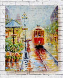 картина маслом городской пейзаж красный трамвай под весенним дождем
