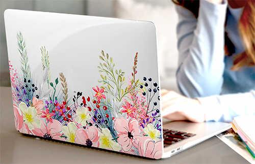 купить подарок прозрачный чехол ноутбука с розовыми цветами подруге