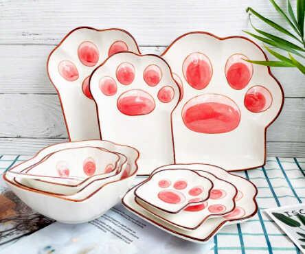 купить подарок необычные тарелки с отпечатком розовой кошачьей лапки