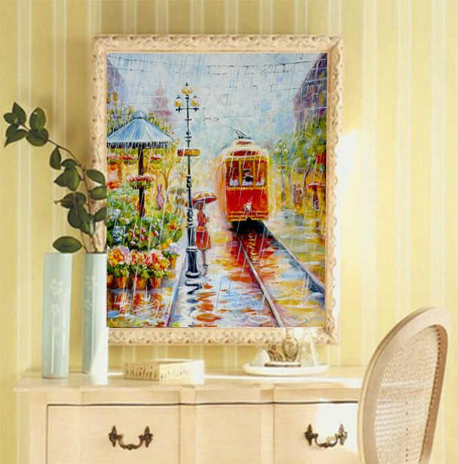 красивая картина в спальню красный трамвай