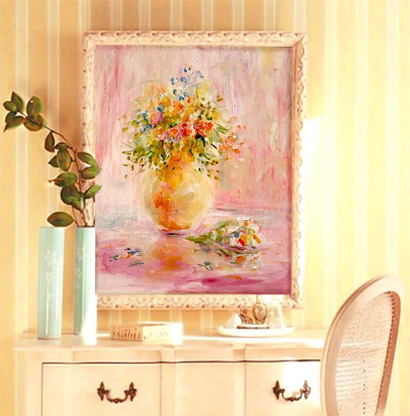 весенняя картина маслом с цветами