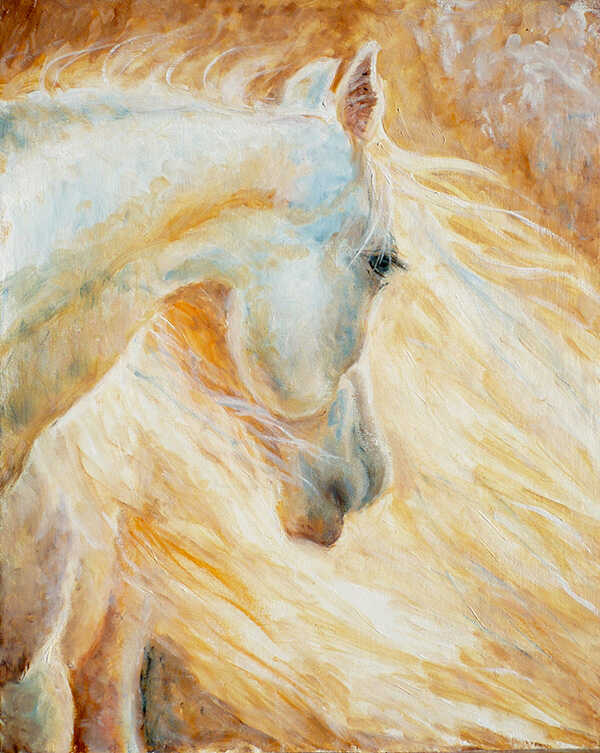 нежная картина маслом белая лошадь с длинной гривой на солнце