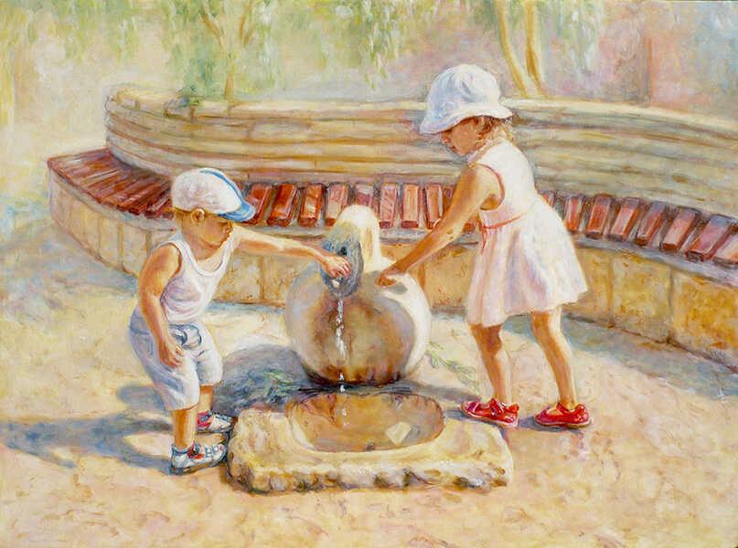 картина маслом дети у фонтана