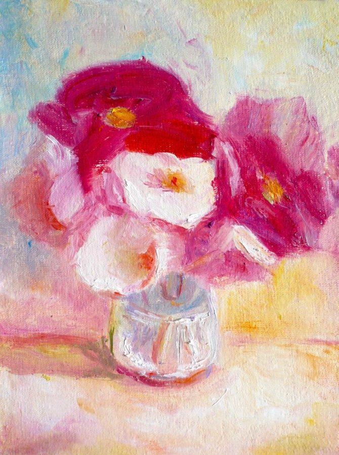 маленькая картина натюрморт с красными и белыми цветами
