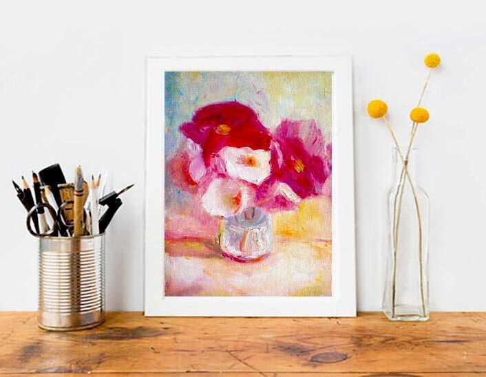маленькая картина маслом недорого натюрморт с красными и белыми цветами