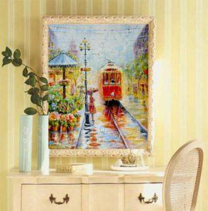 картина маслом с красным трамваем под дождем