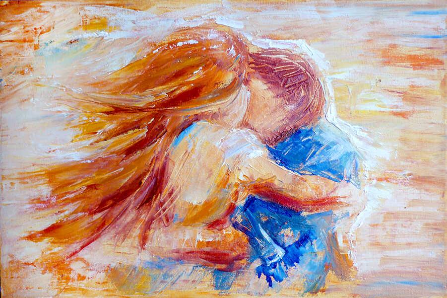 картина маслом love с обнимающимися девушкой и парнем