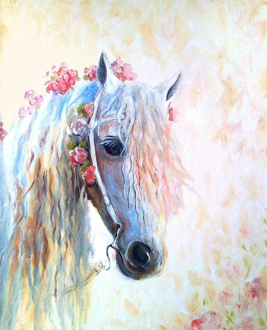 картина цветочная лошадка холст масло
