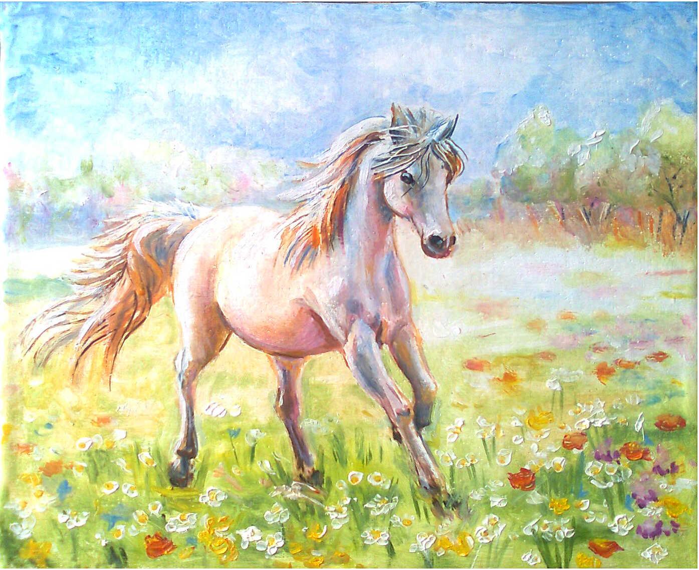картина маслом бегущая лошадь на цветочном лугу