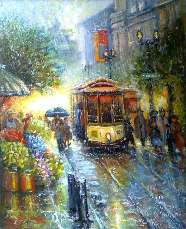 картина маслом трамвай под дождем