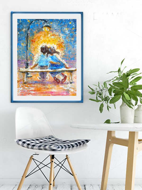 Картина двое влюбленных под фонарем и луной