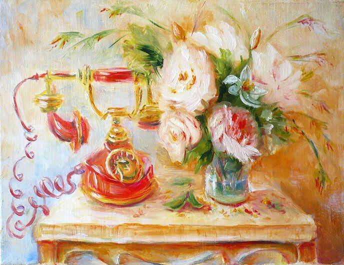 картина маслом ретро натюрморт со старинным телефоном и букетом цветов