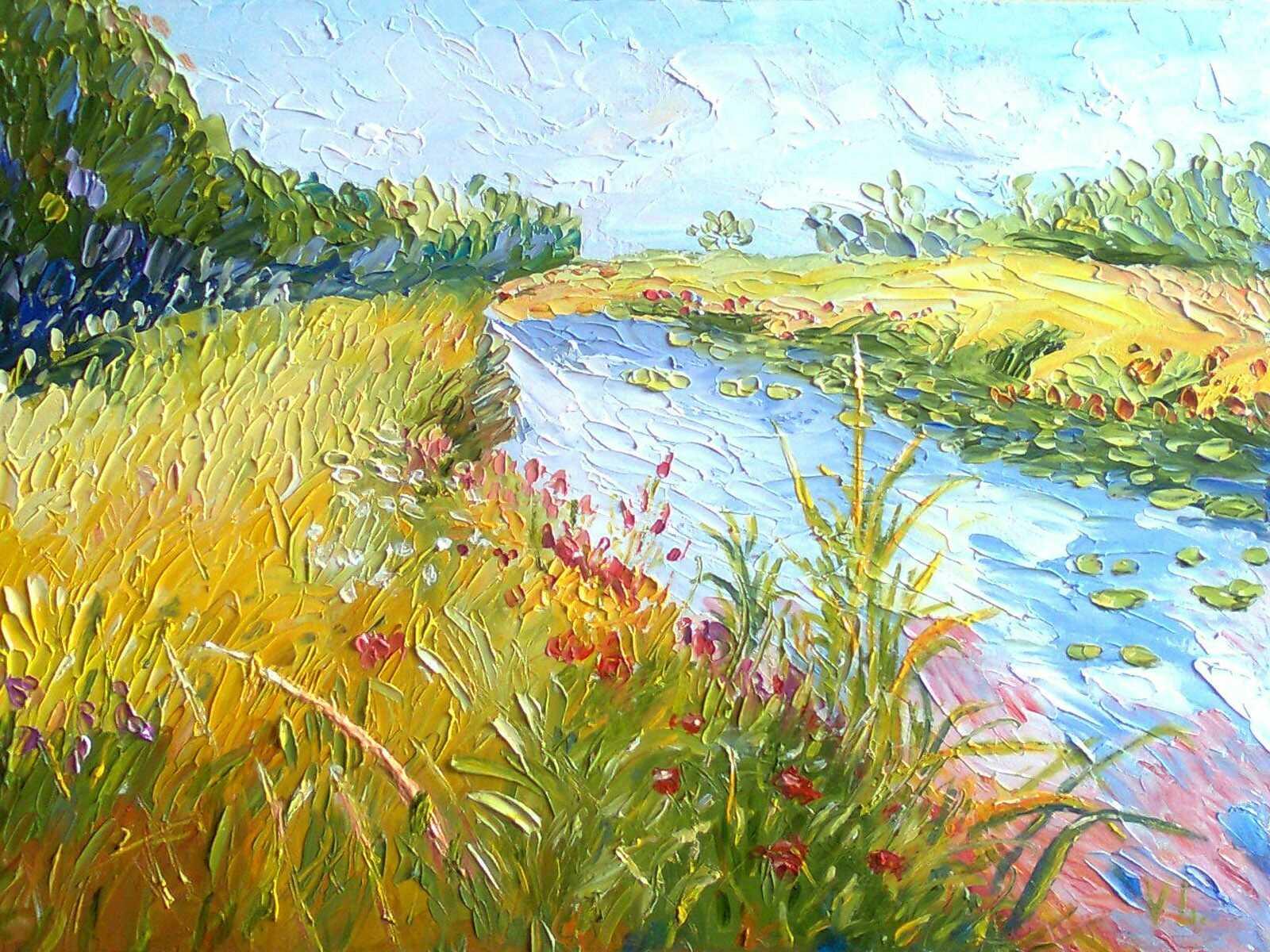 картина маслом берег реки с травами лесом и цветами