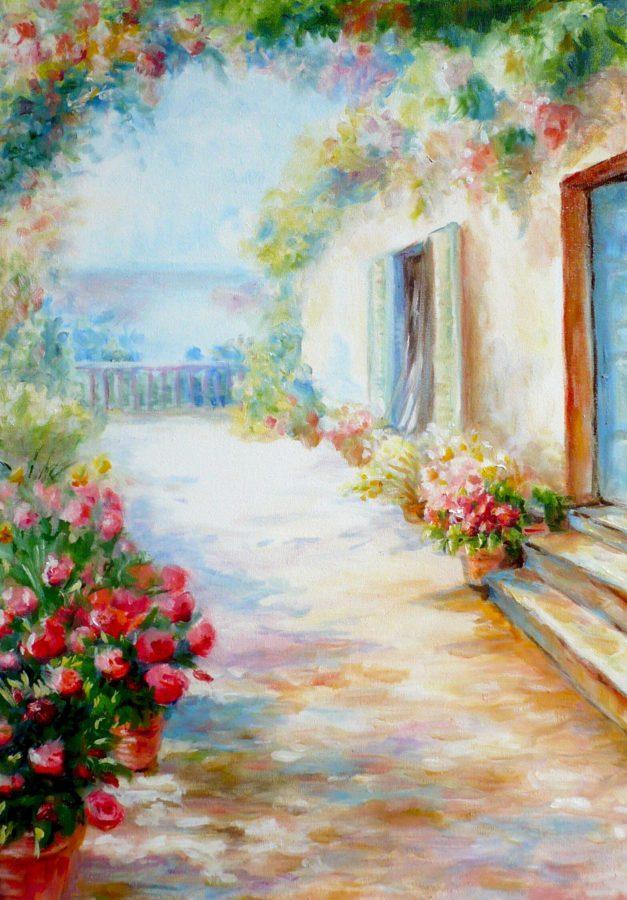 картина маслом весна в итальянском дворике
