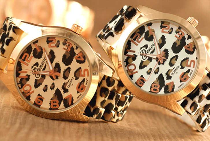 часы девушке близнецу с леопардовым принтом в подарок на день рождения