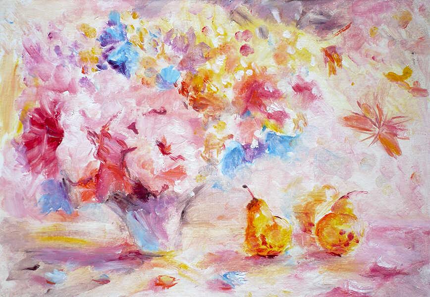 цветочный натюрморт с грушами маслом