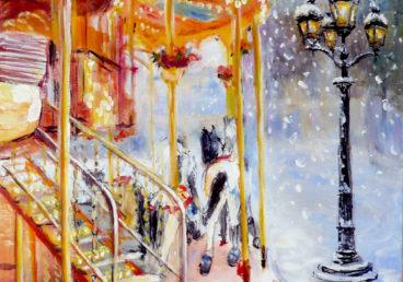 картина маслом парижские качели