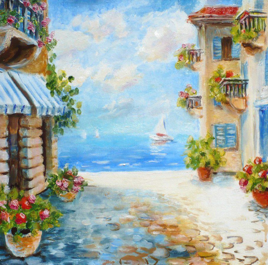 морской пейзаж маслом южный город пристань маленькие дома цветы