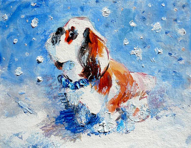 недорогая маленькая картина маслом в детскую комнату собака зимой