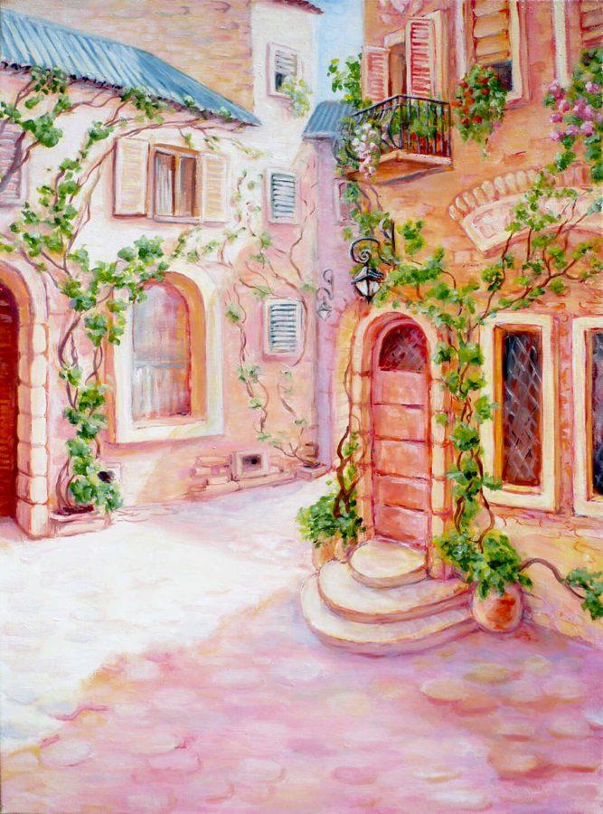 картина масло прованский дворик в розовых цветах с крылечком и вьющимся виноградом