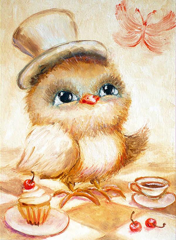 картина в детскую с птенцом в шляпе цилиндре на голове