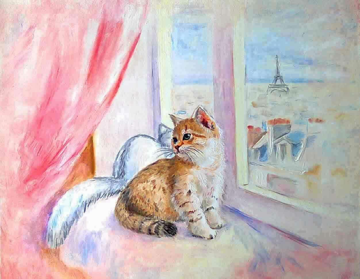 картина маслом рыжий и белый котенок на окне с розовой шторой и с Эйфелевой башней за окном