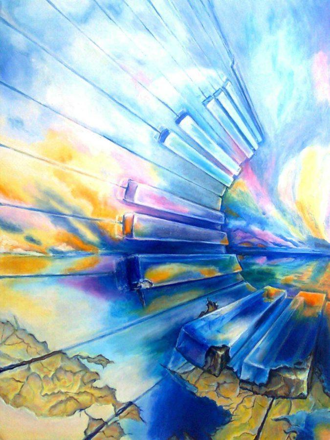 картина маслом звуки музыки с морским пейзажем и клавишами фортепиано