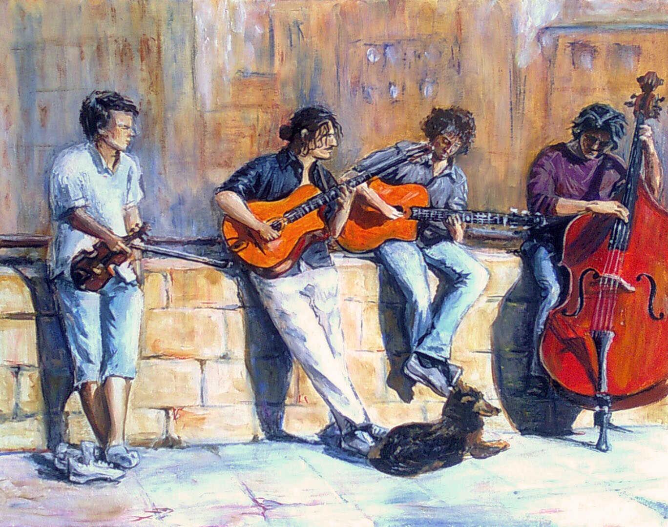 Картина уличные музыканты во Флоренции с гитарами, скрипкой и контрабасом