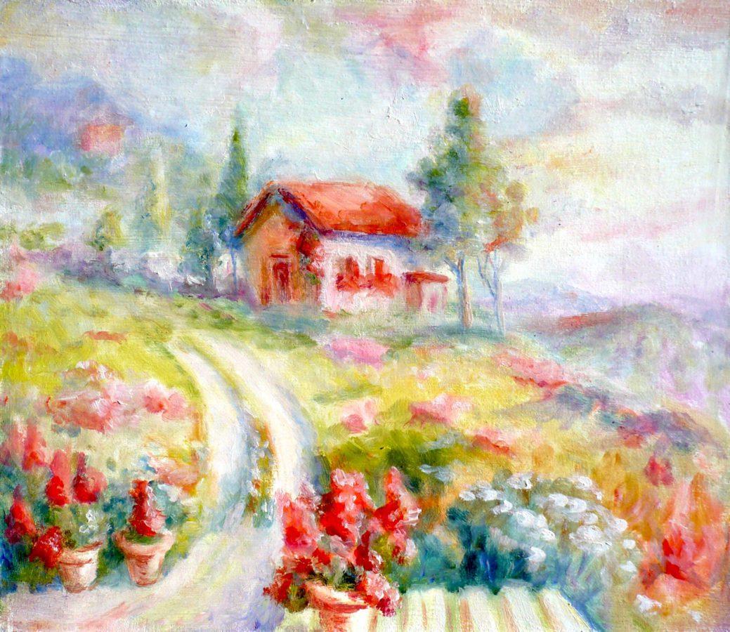 картина маслом с нежным пейзажем на закате с цветами и домиком