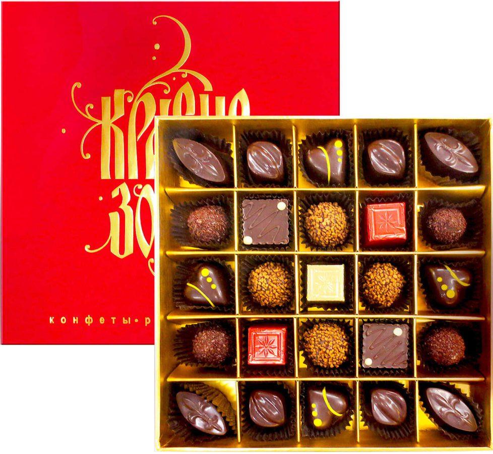 цветной шоколад ручной работы в подарок в красной коробке