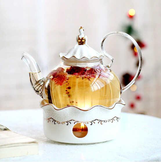 белый с прозрачным чайник для заварки чая посуда для чая