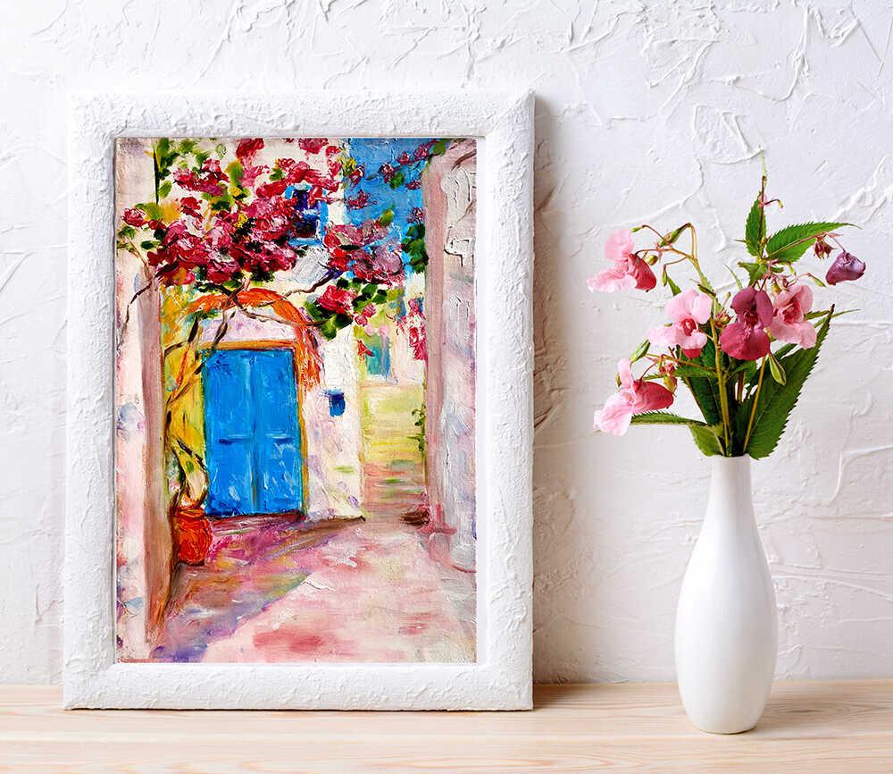 купить подарок красивая маленькая картина маслом с греческим двориком