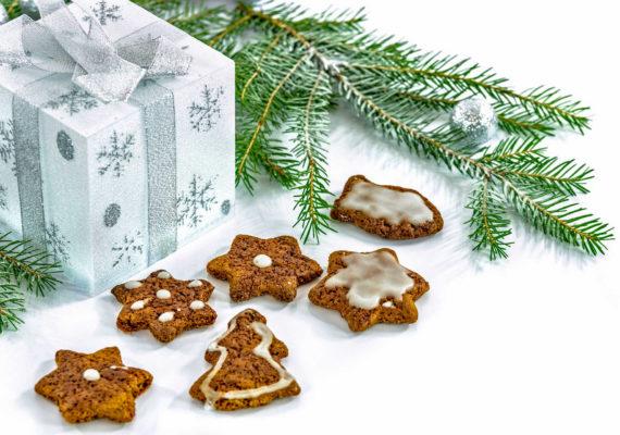 елочная ветка подарок и новогоднее печенье звездочки елки
