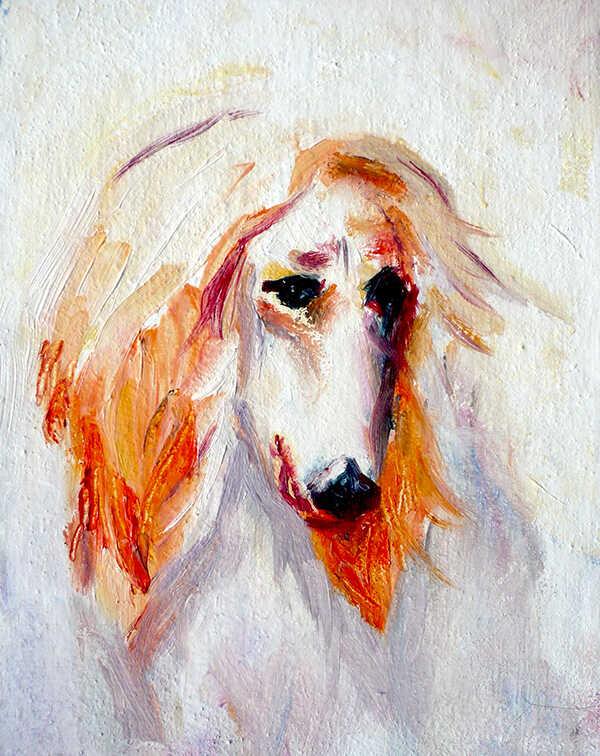 белая собака портрет маслом любимого питомца