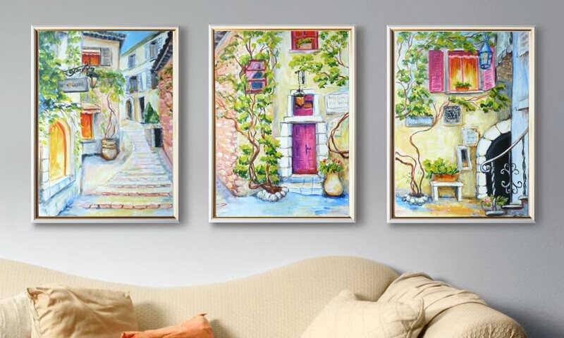 триптих с прованским городским пейзажем