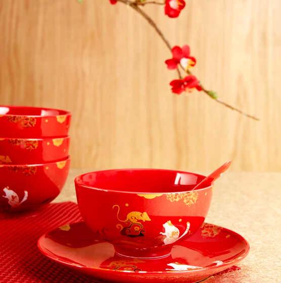 китайский фарфор пиалы и блюдца красного цвета