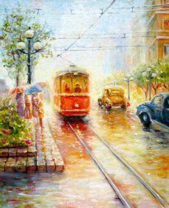 Картина вечерний трамвай