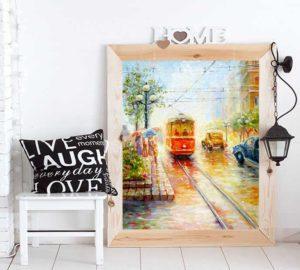 Красивая картина с трамваем